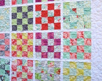 Baby Quilt Toddler Nursery Bedding Crib Cot Kate Spain Canyon Scrappy Patchwork Squares Aqua Coral Lap Throw Colorful