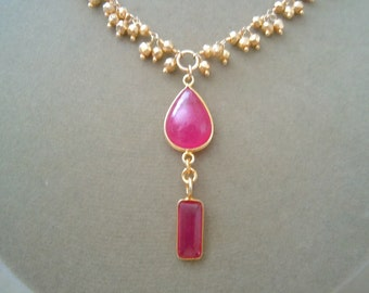 NEW MARKDOWN: Ruby and Gold Bead Cluster Chain Focal necklace