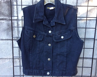 Jean vest Vintage 1990s Black Denim  Women's size L