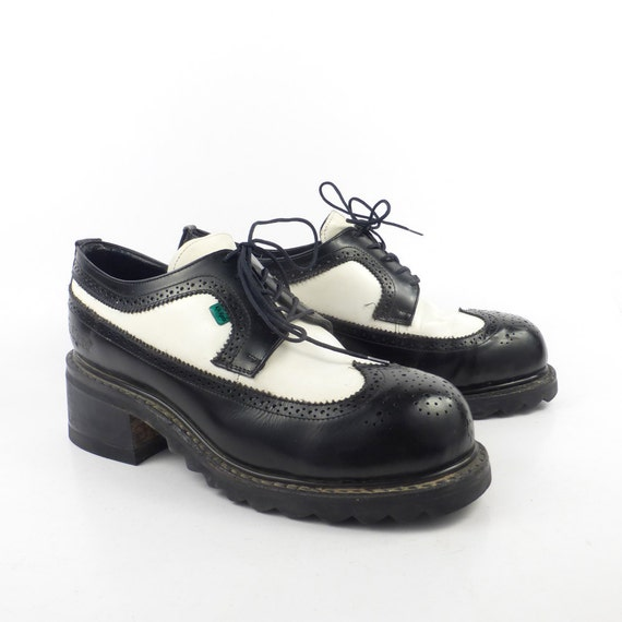 kickers oxfords shoes vintage leather two tone black and white