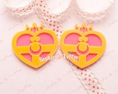 Cosmic Heart Compact Laser Cut Acrylic - 1pc | Resin Cabochon Decoden Supplies Jewelry Making Flatback Resin Cabochon