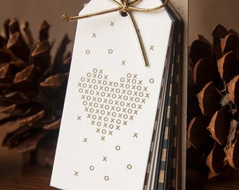 Golden Hearts - Letterpressed Gift Tags 12pk