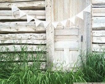 Vintage Lace banner-Farmhouse decor-Lace Wedding Banner-White lace banner-White lace bunting-Shabby Chic banner