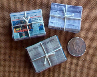 3 Mini Bundles of Newspapers  1:12 scale