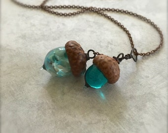 Glass Double Acorn Necklace -Teal - by Bullseyebeads