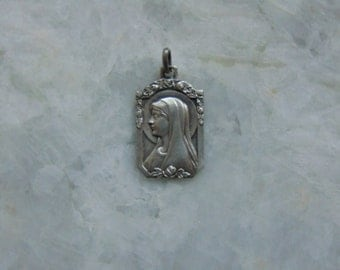 French Vintage Antique Holy Virgin Mother Mary Apparition at Lourdes France Catholic Silver Medal