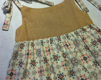 Pinafore Dress Vintage Cotton with Pink & Ginger Gingham size 2 by Barneche/ Stephanie Barnes