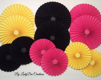 Yellow Pink & Black Paper Rosettes / Paper Fan Flowers / Paper Medallions - Party Decoration (set of 12)