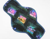 """12"""" Moderate Flow Reusable Cloth Menstrual Pad ~ Made with Doctor Who Cotton Woven, WINDPRO ~ Day Pad, Cloth Pad by MotherMoonPads"""