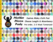 Pre-order CUSTOM Minky Cloth Pad, Rainbow Moons Minky, AP or Windpro Fleece, Pantyliner, Day, Heavy, Postpartum Cloth Menstrual Pad LIMITED