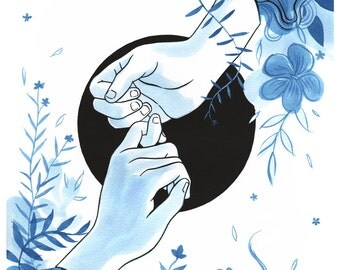 Pinky Promise - 11x14in Wall Art Print - indigo and black sumi ink painting