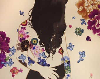 Black Violet- original walnut ink painting with fabric collage on cream paper