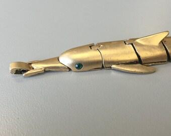 1970s Matte Gold Dolphin Bracelet