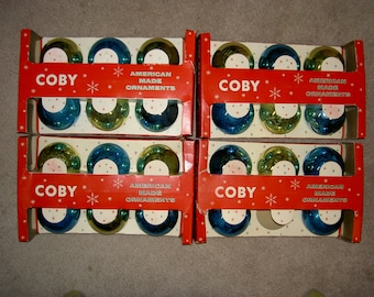 """Vintage Coby """"Made in USA"""" Glass Christmas Tree Ornaments"""