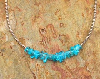 Aquamarine Thai Hill Tribe Silver Necklace - Aqua Nugget