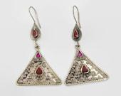 Boho Earrings, Vintage Earrings, Kuchi Gypsy, Kazakh Jewelry, Red Pink, Kazakhstan, Afghan Jewelry, Bohemian, Statement, Belly Dance, Big
