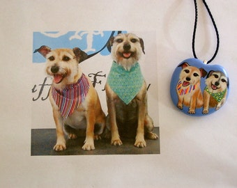 Custom Portrait - Custom Pet Portrait - Pet memorial jewelry-stone-pendant necklace-personalized painting from your photo-painted pet rocks