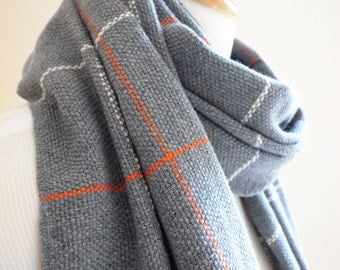 """Handwoven Check Pattern Cashmere Scarf Big and Light 20.5"""" x 77"""", 52 x 186 cm"""