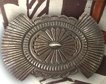 Vintage Navajo Sterling Silver Belt Buckle | Signed Native American Southwest  Genuine Stamped Mens Feather Design Handmade One of a Kind