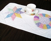 Quilted table runner  pretty thirties pastel  Spring or summer  runner Quiltsy handmade