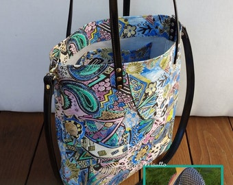 Hand-made Genuine Leather Carry-all Shopping Totes - Tropical & Red Styles