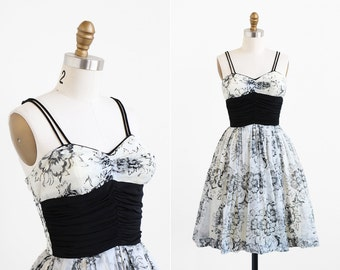 vintage 1950s dress / 50s dress / Black and White Ballerina Party Dress