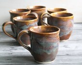 RESERVED for Gillian - Set of Six Mugs in Earthy Amber Glazes Handmade Stoneware Coffee Cup Made in USA Ready to Ship