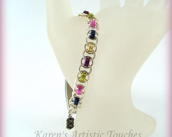 Multi Color Silver Helm Chain Mail Medical ID Bracelet