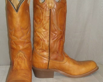 Vintage Buckaroo Marbled Leather Honchos Cowboy Boots Mens 7D Womens 8 1/2 9 Boho