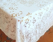 "vintage quaker lace tablecloth, rectangular 72"" x 52"", ivory color, easy care cotton/acrylic blend, home decor, table linens"