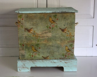 Customizable- Small Hope Chest- Storage Chest- Wedding Chest- Shabby Floral- Wooden Chest- Heirloom