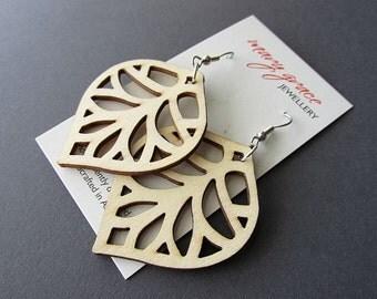 Natural Lazer Cut Wooden Leaf Earrings
