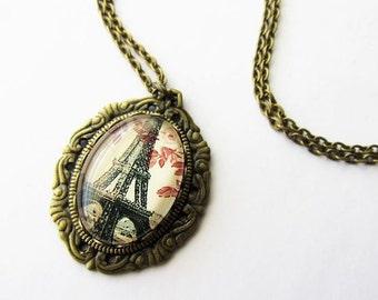 Whimsical Vintage Inspired Eiffel Tower Pendant