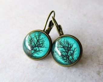 Teal Green Tree Silhouette Glass Dome Drop Earrings in Antique Brass   Everyday Casual Wear Small Earrings   Gift for Her