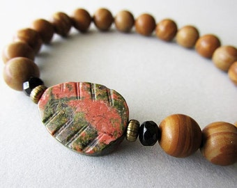 Earthy Rustic Carved Unakite  Leaf and Jasper Stone Bracelet | Hippie Boho Style Jewellery | Nature Inspired Jewellery | Gift for Her