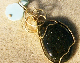 Gorgeous Goldstone Pendant - Handmade Gold Wire Wrapped with Loads of Sparkle by JewelryArtistry - P574