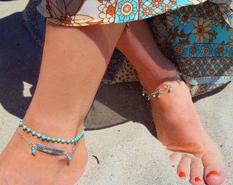 Mermaid Life Anklet Set - Sterling Silver and Turquoise Handmade Beach Boho