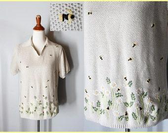 vintage LOCAL HONEY cotton sweater honey bee jumper