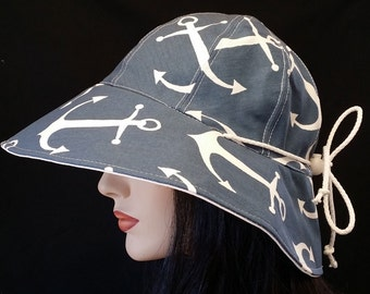 Reversible Wide Brim Sun Hat in nautical anchor print with adjust fit plus chinstrap for boating/convertibles/windy days