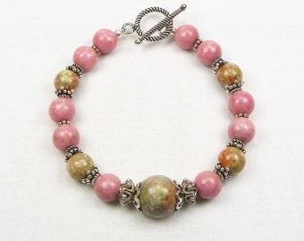 Rhodonite and Autumn Jasper Bracelet - Beaded Jewelry - Genuine Gemstones - Gift For Her - Sterling Silver