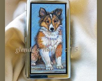 Sheltie Pup Fine Art Metal Credit Card_Busines Card_Money Holder