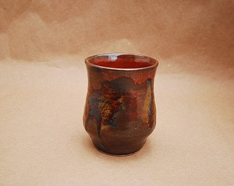 Handmade Pottery Espresso Cup, Rust Red With Olive Green Accent Color, Textured Spots Are  Dark Brown And Rust, Small Cup With No Handle