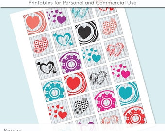 Valentine Digital Collage Sheet Hearts 1x1 Inch Squares and 1.5 Inch Squares for Glass Resin Pendants Charms JPG Q0048 S0048 1 Inch