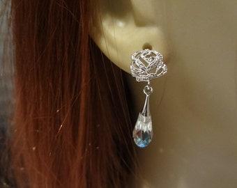bridal earrings, long crystal earring, Swarovski earring, modern bridal jewelry, rhinestone rose