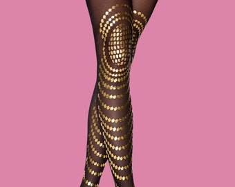 Black & gold tights, Goldfish available in S-M L-XL