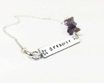 Inspirational Word Bracelet - Inspirational Word Jewelry - Dreamer Bracelet - Dreamer Gift - Gemstone Choice - Hand Stamped Bracelet