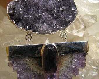 Amethyst Cluster with Stalactite Slice Pendant