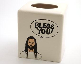 Jesus Bless You , ceramic tissue box cover , kleenex holder , inspirational gift , funny gift