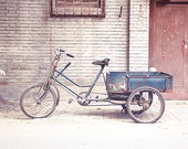Blue Bicycle Photography, Beijing Travel Photography, Urban, city street, hipster wall art, Beijing China travel print, gift for him