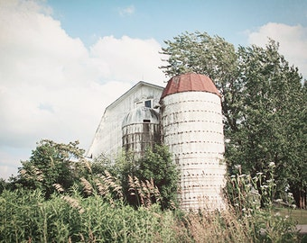 Barn Photography, Landscape Photograph, Rustic Nature, Cottage Decor, Farmhouse, Shabby Chic, Country, New York Farm, Summer, Barn Picture